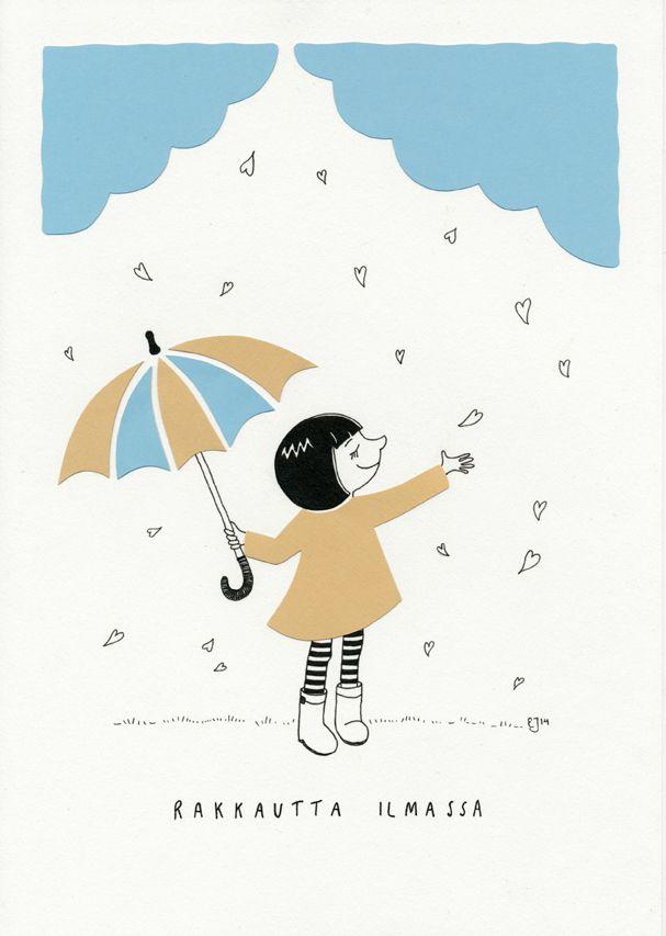 Rakkautta ilmassa. Mantelinan A4-printti. Alkuperäinen kuva: Elina Jasu / Love is in the air. Art print made by Elina Jasu for Mantelina