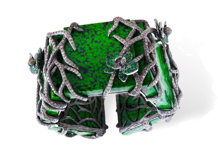 """""""Amazonia,"""" bracelet by Parisian jeweler Lydia Courteille. Turkmenistan Turquoise is a deep, almost alge-like, green color."""