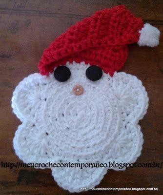 Meu Crochê Contemporâneo: Porta Copos Papai Noel