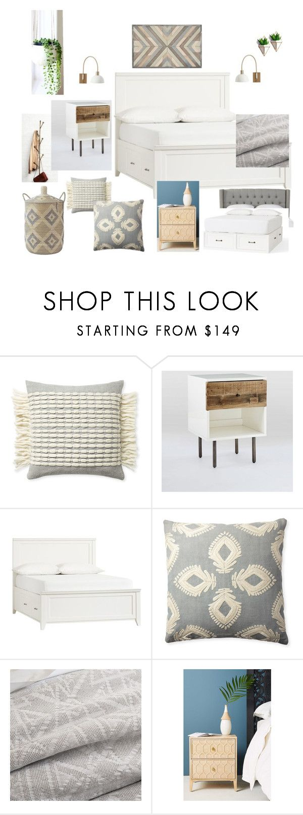 Corte Madera Master Bedroom 1 by noelkvis on Polyvore featuring interior, interiors, interior design, home, home decor, interior decorating, West Elm, Pottery Barn, Serena & Lily and Anthropologie