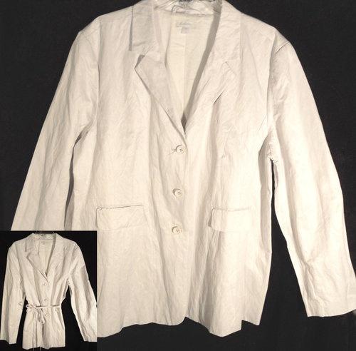 Womens Sz 18 XL Garnet Hill Belted Lined Jacket Blazer LightWeight Machine Wash | eBay
