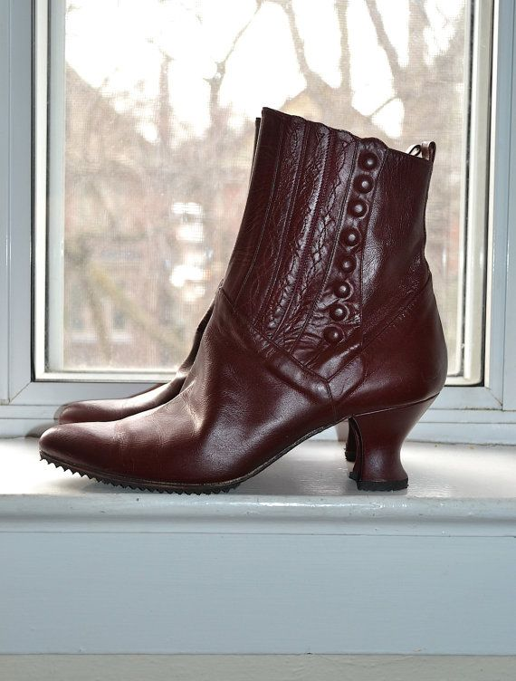 Vintage 80s - Oxblood Leather Edwardian Goth Boots - 6/6.5 - Peter Fox on Etsy, $96.83 AUD