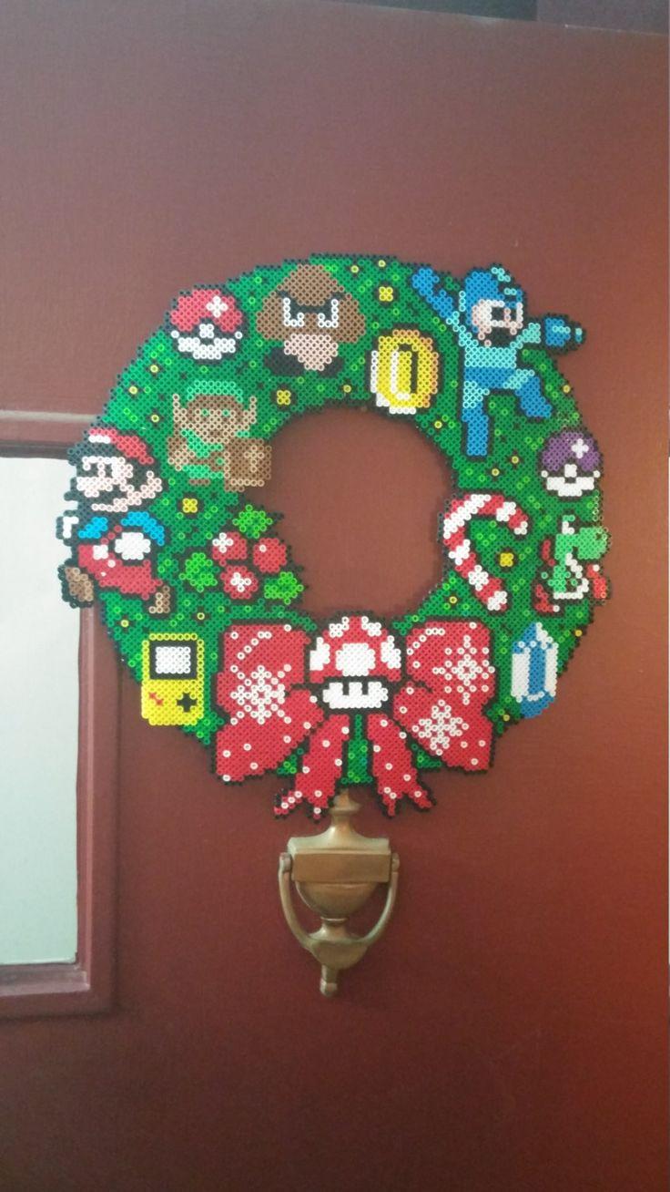 Nintendo Perler Fuse Bead Christmas Holiday Wreath by WolvesandWine