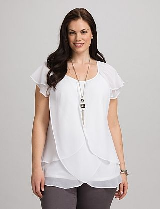 White tiered chiffon top.  Modest, simple with a twist, and goes with…