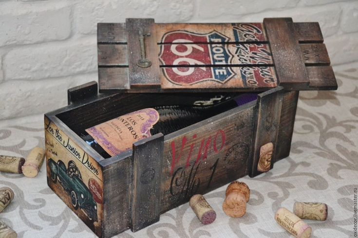 Купить ДЛЯ МУЖЧИН - комбинированный, ящик, ящик для вина, короб для хранения, короб для вина, вино