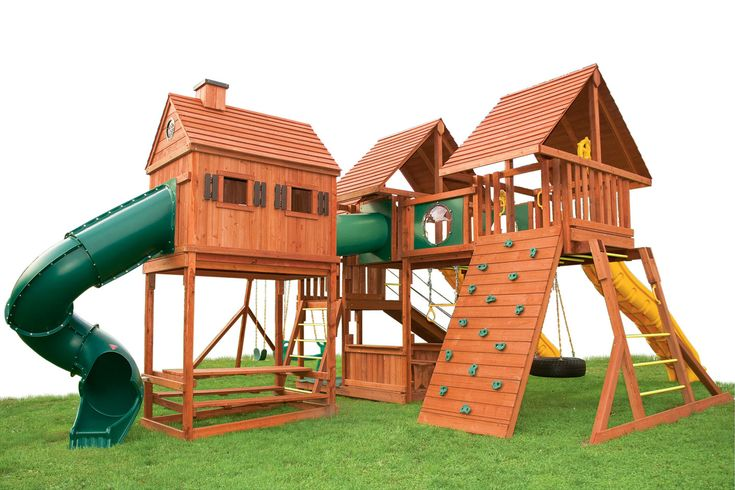 Wooden Swing Set With Playhouse - WoodWorking Projects & Plans