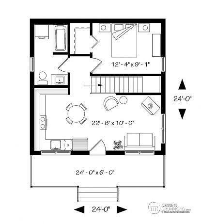 Rez-de-chaussée Chalet petit prix avec sous-sol, grand balcon couvert, 1 grande chambre, walk-in,  poêle à bois,  aire ouverte - Le Relais 2