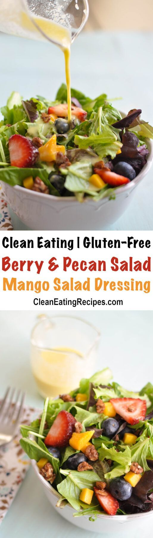 I love this light, refreshing Clean Eating green salad with mango salad dressing. It is the perfect compliment to pretty much any healthy meal. Oh, and don't forget the best part - the maple candied pecans! {Clean Eating, Gluten-Free}