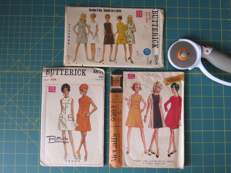 Sewing Patterns Ladies Retro Mod Casual Dress Patterns, Butterick 4818 & 4871, McCall's 9383 Misses Size 10 New Sizing Vintage 1960's by EMStreasureseekers on Etsy