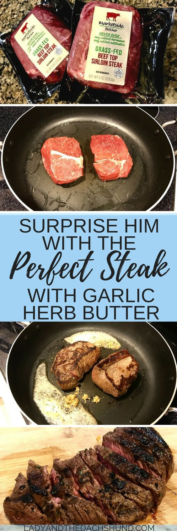 """Perfect steak with an easy steak recipe! Make the perfect steak for two with pan fried steak! Surprise him or impress him by cooking the perfect steak on the stove. Great birthday idea for him or anniversary dinner. An """"impress him dinner"""" is the perfect surprise idea for him!"""