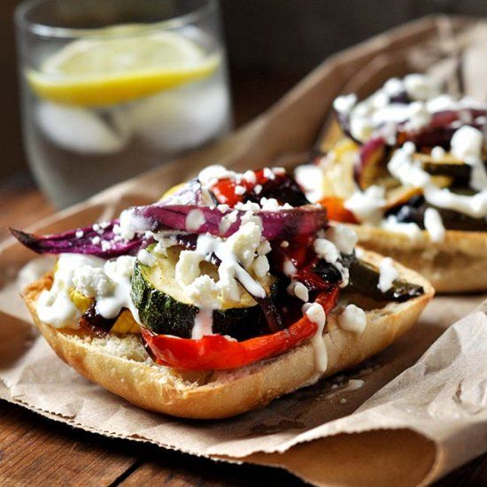 Grilled Open-faced Veggie Sandwich with Lemon-Garlic Sauce