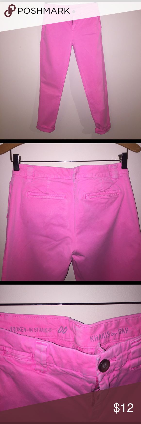 Gap Broken-In Girlfriend khaki pants. Neon pink. Gap Broken-In Girlfriend khaki pants. Neon pink. GAP Pants