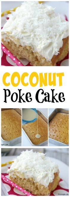 Coconut Poke Cake - A fluffy, moist cake infused with Cream of Coconut and topped with a light and airy cream cheese frosting.