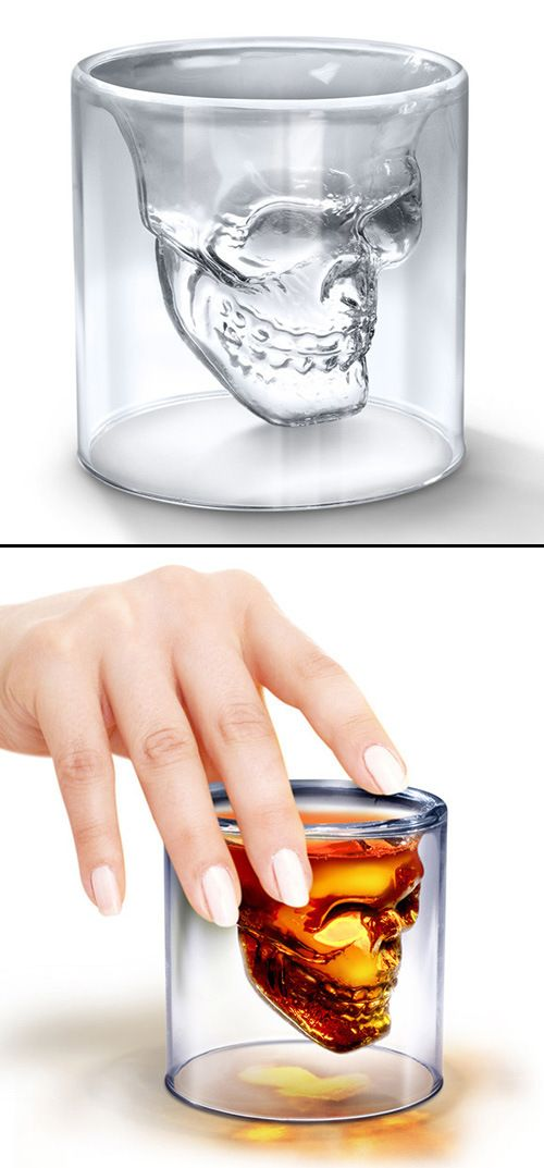 skull shot glass - coolest glass I have ever seen. perfect guy / #man #gift