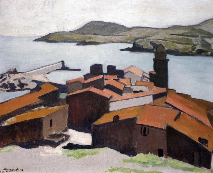 'Vue de Collioure', huile sur toile de Albert Marquet (1875-1947, France)