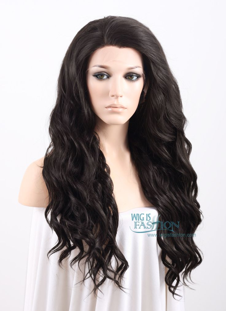 """Long Curly Wavy 24"""" Natural Black Lace Front Synthetic Fashion Wig Heat Resistant $52"""