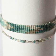 Bracelet tissé perles miyuki / vert bleu