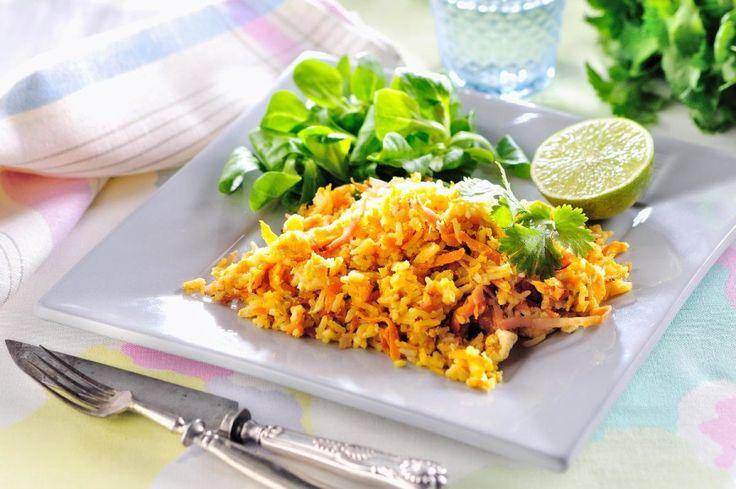Fried rice med ägg och skinka