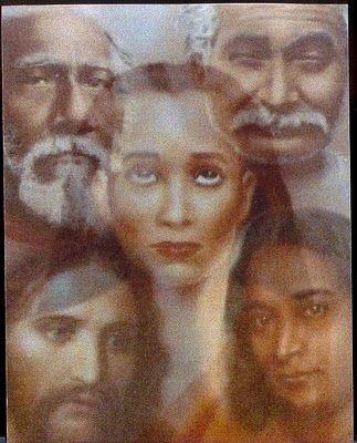Composite of Mahavatar Babaji and the Himalayan Sage Tradition Lineage: Mahavatar Babaji, Master Christ Jesus, Lahiri Mahasaya, Sri Yukteswar, Paramahansa Yogananda