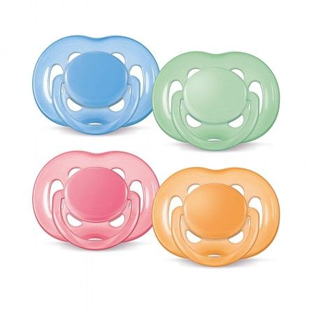 Philips AVENT Freeflow Silicone Soother, BPA Free. Philips AVENT Freeflow soothers have six holes and a curved shield for greater comfort for baby. Philips AVENT orthodontic, collapsible and symmetrical teats respect the natural development of your baby's palate, teeth and gums. All Philips AVENT Soothers are made up of silicone and are taste and odour-free.