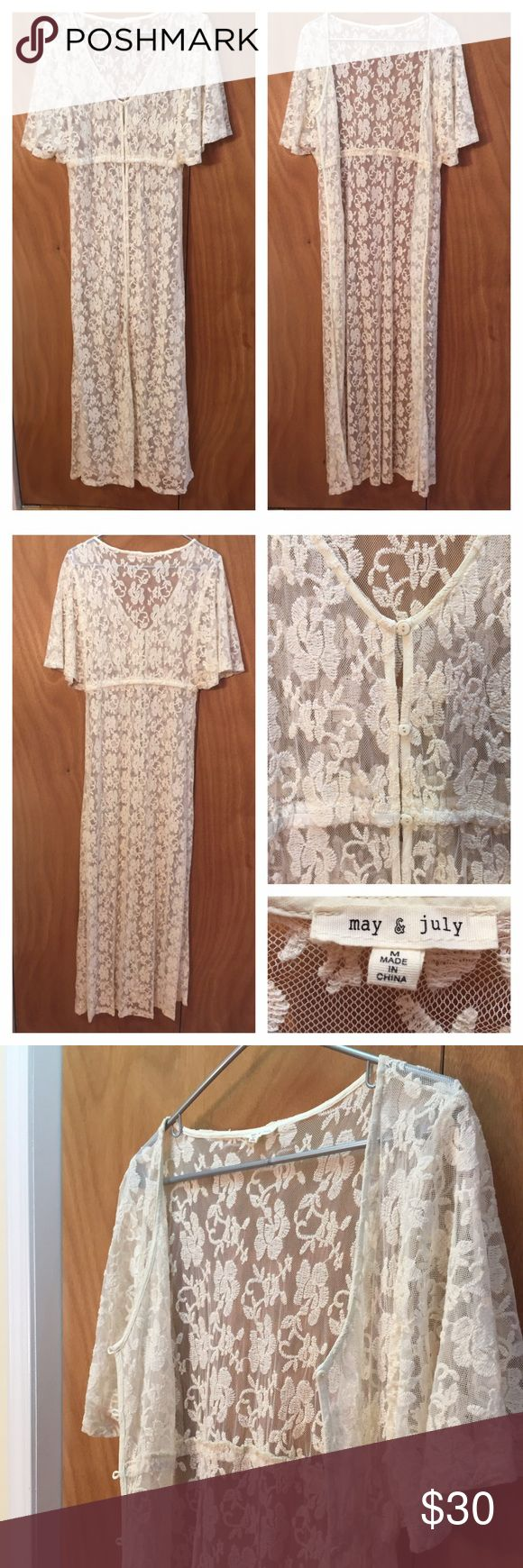 Seasonal Off White Lace Kimono!!  Brand NWOT! This Lace Kimono made by 'May & July' is boutique. Made of 85% Cotton & 15% Nylon. This piece features:*Loop hole buttons all the way to the knee line. *At the waste also has elastic band for form fitting & stretch if needed! May & June Tops