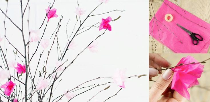 Frühlingsdeko basteln: Anleitung für Kirschblüten aus Seidenpapier