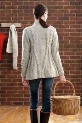 Oatmeal colored a-line swing jacket. See more @ http://www.yarnspirations.com/pattern-books/fall-love.