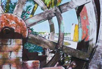 Mathers Bridge Waterwheel: The painting above is by Joyce Warner and it's titled Mathers Bridge Remembered.  The Mathers Bridge Restaurant was near the south end of Merritt Island