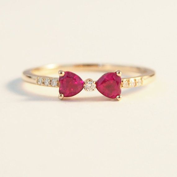 Promise Ruby Heart Ring Bow Red Gemstone Women July Birthstone