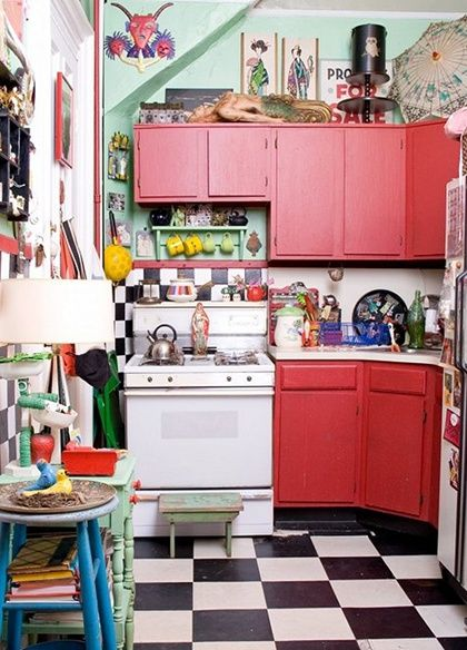 Kitchen:Chic Small Kitchen Design With Red Cabinets And Checkers Floor  Design With Vintage Style Design For Kitchen Appliances Alternative K.