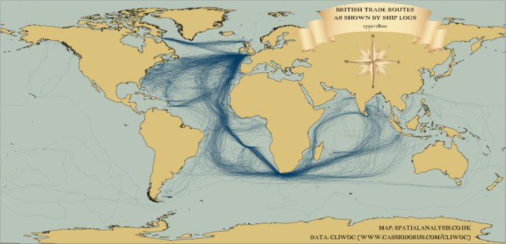 """Historical education - British shipping """"Mapped: British and Spanish Shipping 1750-1800"""" from Spatial Analysis"""