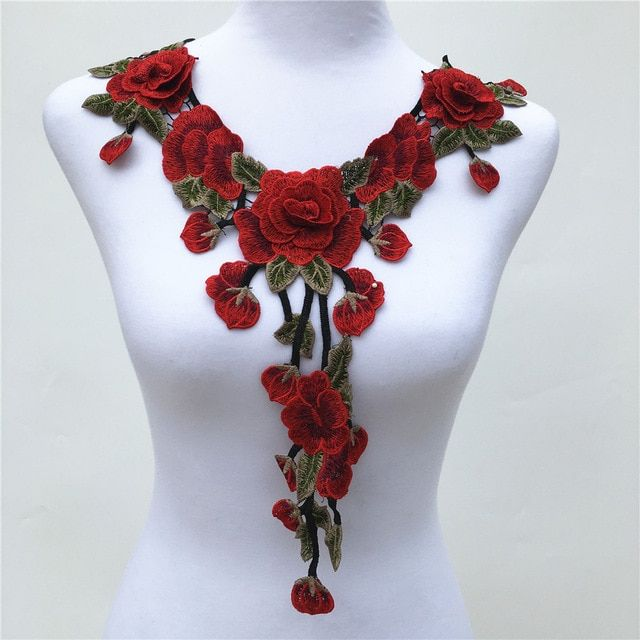 Rose Flower Motif Collar Sew on Patch Applique Badge Embroidered Motif Dress Lot