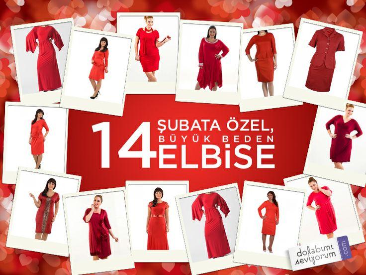 14 Şubata 14 Kırmızı Elbise