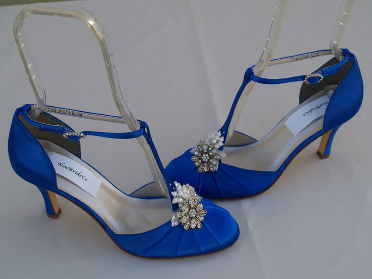 Royal Blue Wedding Shoes Vintage style, Brides Something Blue, Satin Rounded Toe,Closed Toe,D'Orsay Style T Strap,Old Hollywood,Great Gatsby by NewBrideCo on Etsy https://www.etsy.com/listing/176595430/royal-blue-wedding-shoes-vintage-style