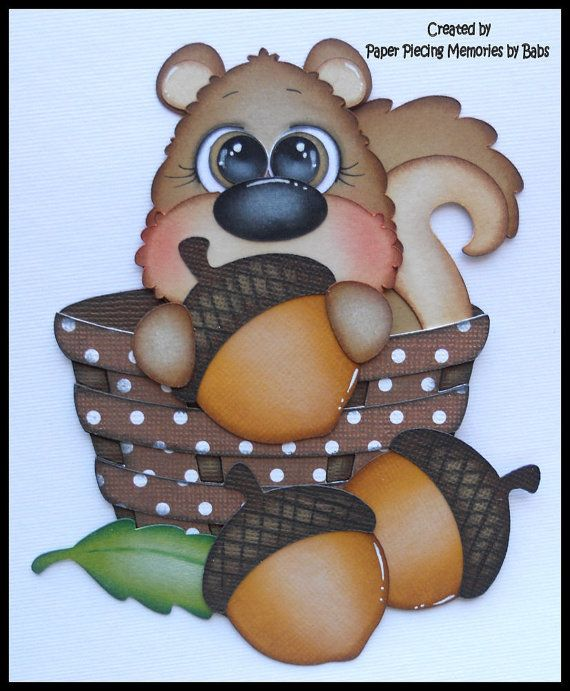 Fall Squirrel Premade paper piecing, embellishment, die cut for scrapbook page created by Paper Piecing Memories by Babs