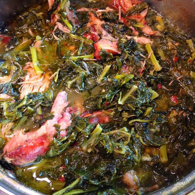 Southern Style Greens-I used my crockpot to cook these ...