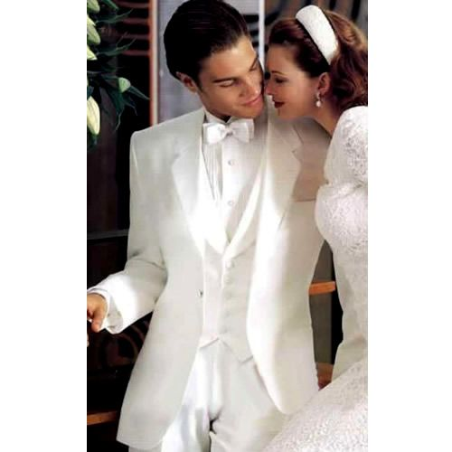 Spectacular Men White Single Button Slim Fit Italian Wedding Dress Suit Tuxedo SKU