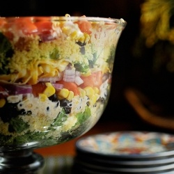 LOVE this! It's a huge hit at my Pampered Chef Shows! Southwest Layered Cornbread Salad