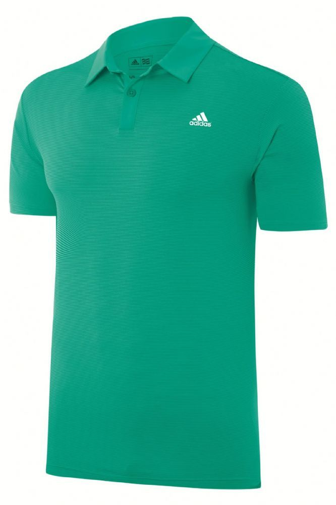 adidas Golf 2015 Tonal Stripe Mens Golf Polo Shirt - Left Chest Logo - Bright Green Features 50 UPF Protection Tonal All-Over Stripe Solid Woven