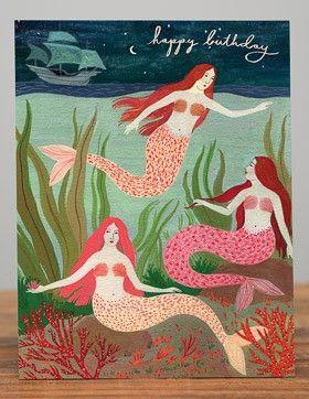 Happy Birthday Mermaids ~ Printed Card
