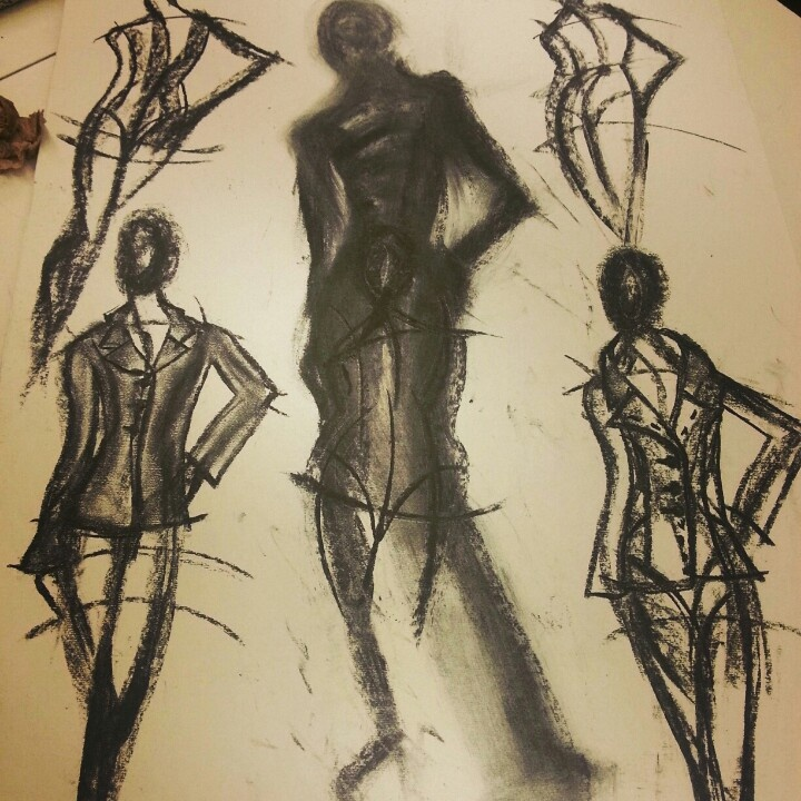 Charcoal.. fashion drawing