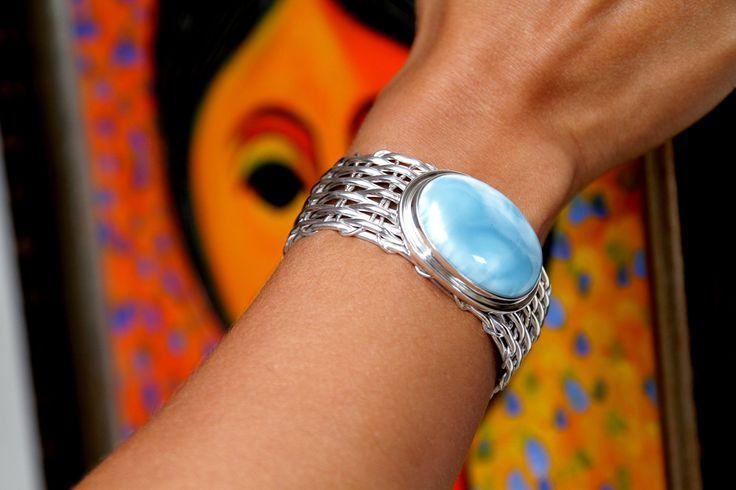 Larimar Cuff Bracelet   The Larimar Shop   Dominican Handcrafted Larimar Jewelry