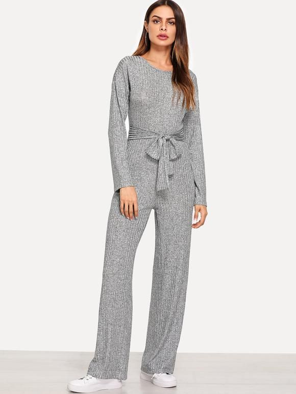 ead36f6f01d8b Self Belted Ribbed Jumpsuit in 2019 | Bodysuits And Jumpsuits ...
