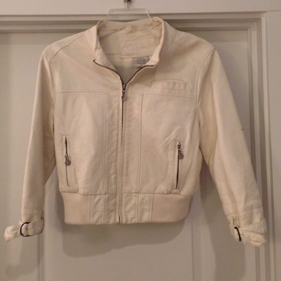 Faux cream leather jacket Worn once faux cream leather jacket.  Zip front and zip pockets.  Says large but fits like medium Jou Jou Jackets & Coats