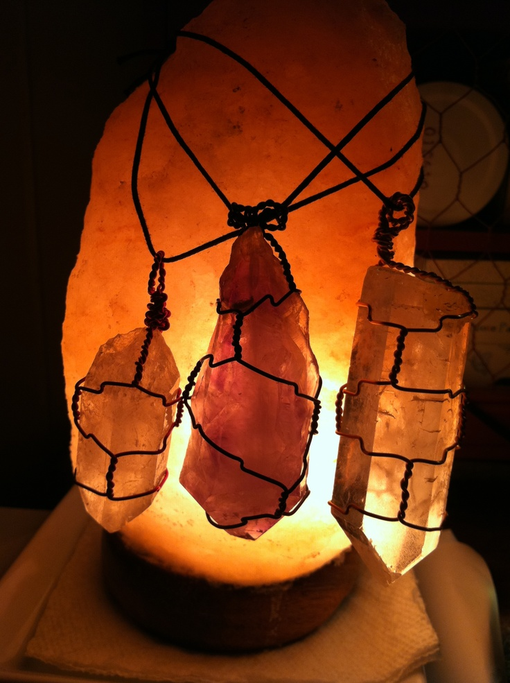 My Himalayan Rock Crystal Salt Lamp with some crystals I was using to practice wire wrapping ...