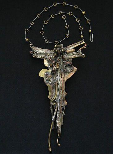 Vintage Marci Zelmanoff brass, copper, sterling silver necklace, circa-1970's