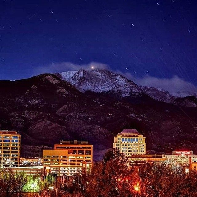 Captivating Colorado Springs  downtown with  Pikes Peak.