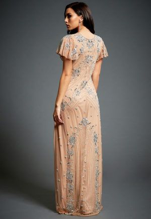 d8d15b04a92b Lucy - Embellished 20's Gatsby Nude Cocktail Floral Maxi Gown in 2019    Maybe   Maxi gowns, Nude gown, Bridesmaid dresses