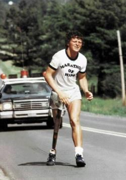 "Terrance Stanley ""Terry"" Fox CC OD (July 28, 1958 – June 28, 1981) Cdn athlete, humanitarian, cancer research activist. In 1980, with one leg having been amputated, embarked on cross-Canada run to raise money and awareness for cancer research. Run lasted 143 days and 5,373 kilometres (3,339 mi), and stopped due to cancer, ultimately cost him his life, his efforts resulted in a lasting, worldwide legacy. The annual Terry Fox Run, in 60 + raising over C$500 million has been raised in his name."
