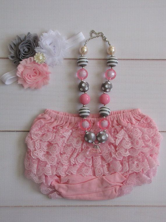 Sale- Pink and Gray 1st Birthday Outfit for Baby, or Cake Smashing Outfit. Perfect Photo Prop. on Etsy, $19.99